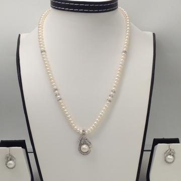 White CZ And Pearls PendentSet With Flat Pearls Mala JPS0042