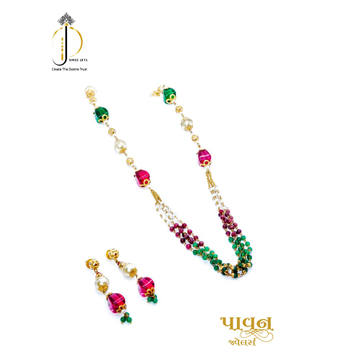 22KT / 916 Gold Colorful Stone & White Moti mala with earring For Women DKG0006