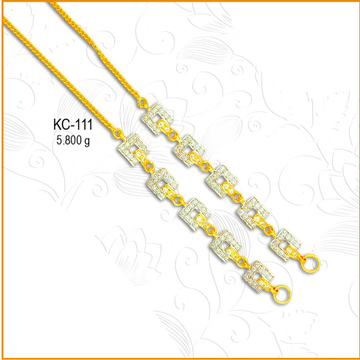 22KT CZ Gold Square Shape Earchain KC-111
