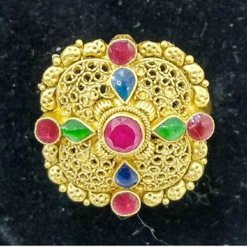 916 Jadtar Gold Colorful Meena Ring