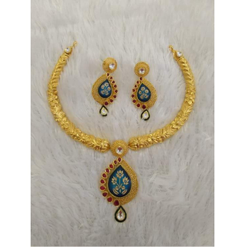 22Kt Gold Fancy Meenakari Necklace Set BJ-N006