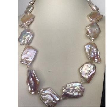 Freshwater Pink Glossy Natural Baroque Pearls Mala