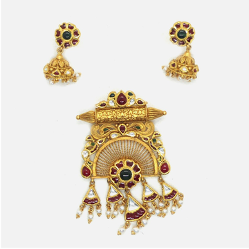 916 Gold Antique Bridal Pendant Set RHJ-6014