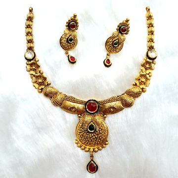 916 Gold Antique Necklace Set MGA - GN011