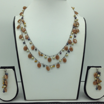 Freshwater Pearls and Brown Semi DropsSilver Necklace Set JNC0073