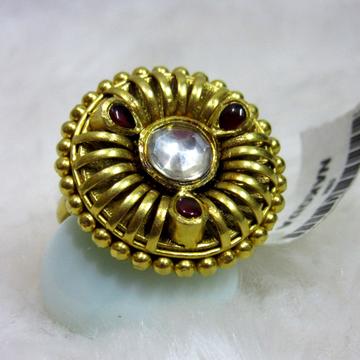 gold rajwadi bridal jadtar ring