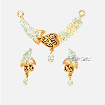 916 CZ Fancy Diamond Leaf Shaped Pendant Set
