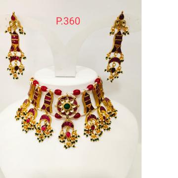 Beautiful read(ruby) kundan work choker necklace set 1232