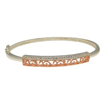 925 Sterling Silver Rose Plated Designer Bracelet MGA - BRS1814