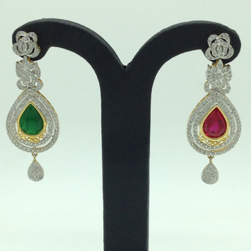 White and Red,Green CZ Stones Changeable Ear Hangi...