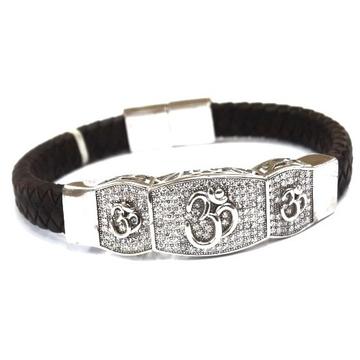 925 Sterling Silver Gents Om Kada Bracelet MGA - KRS0147