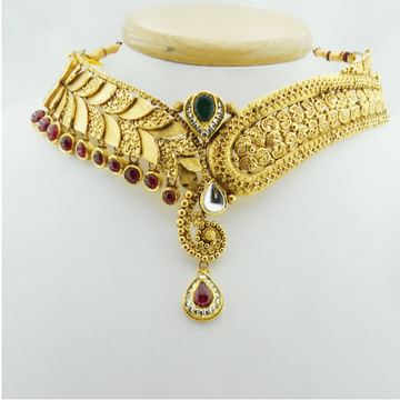 916 Gold Antique Bridal Necklace Set RHJ-3035