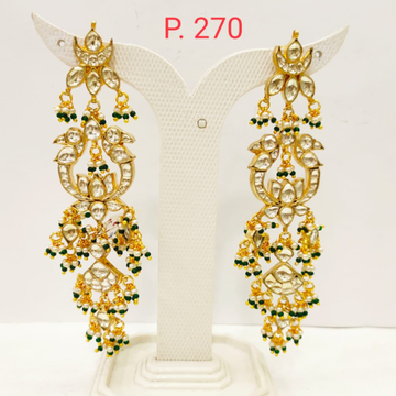 Bridal Gold Plated kundan work long earring with Hanging Moti 1697