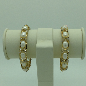 White Oval Pearls And CZ Bangles JBG0079