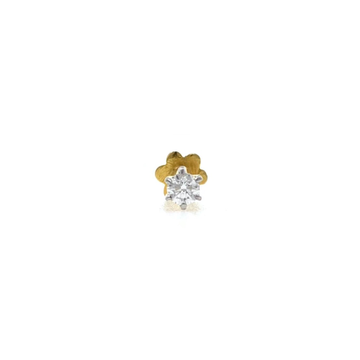 18kt / 750 yellow gold classic single 0.05 cts diamond nose pin 9np150