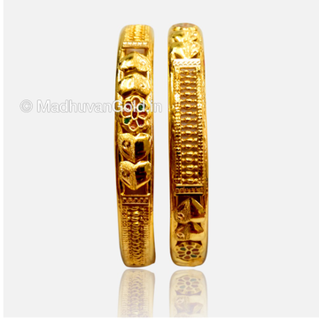 22k Gold Fancy Kada Bangles 2 Pieces