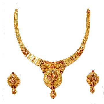 22k Gold Kalkatti Designer Necklace Set MGA - GN089