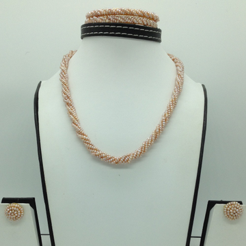 Freshwater Pink Seed5Lines Pearls Twisted Full Set JPP1062