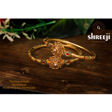 916 Gold Antique Color Stone Kadli Bangle
