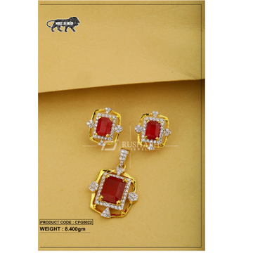 22 Carat 916 Gold Ladies Red colour stone pendent... by