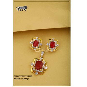22 Carat 916 Gold Ladies Red colour stone pendent set cpg0022