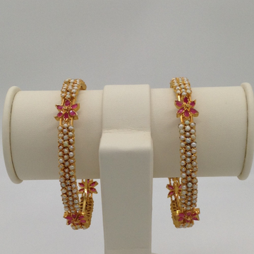 Freshwater White Button Pearls And Red CZ Bangles JBG0008