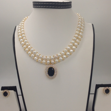 White And BlackCZ PendentSet With 2Line ButtonJali Pearls Mala JPS0386