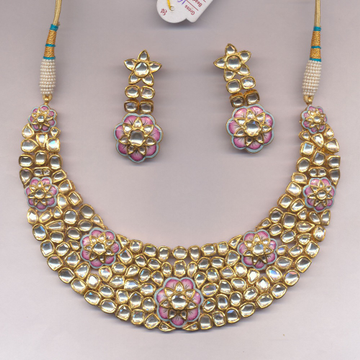916 Gold Kundan Necklace Set From Rajkot