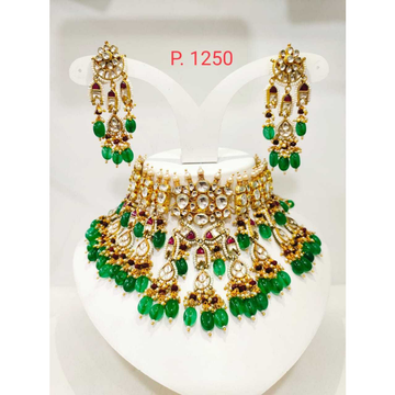 Beautiful green (emerald) bead gold plated wedding...