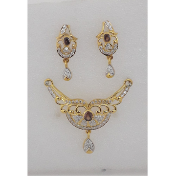 916 Gold CZ Attractive Mangalsutra Pendant Set MJ-PS007 by M.J. Ornaments