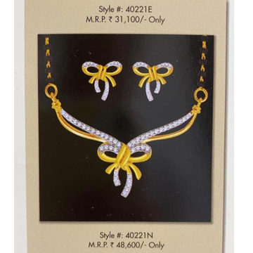 18kt, gold nd diamond bow patterned pendent Mangalsutra with tops