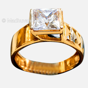 18KT Rose Gold CZ Modern Gents Ring