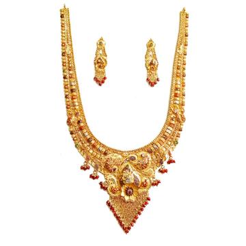 22k Gold Kalkatti Meenakari Necklace Set MGA - GLS033