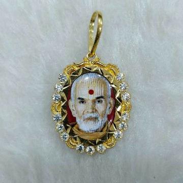 916 Gold Mahantswami Photo Pendant