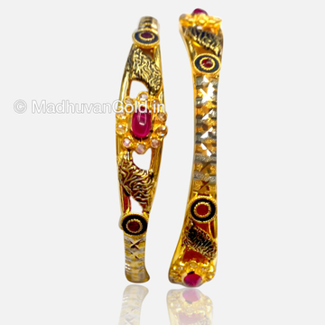 22K Antique Enamel Gold Bangles 2 Pieces