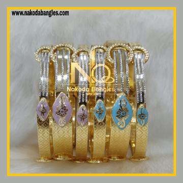 916 Gold Stone Fancy Patla Bangles - 569