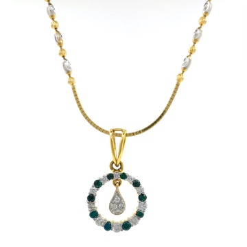 Green Coloured Stone & Diamond Pendant in Yellow Gold 8SHP14