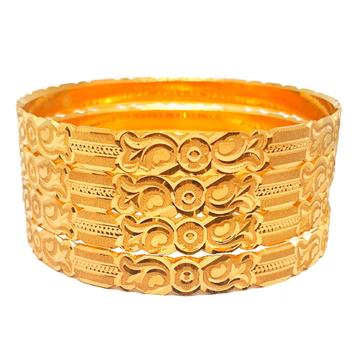 1 gram gold forming 4 piece plain bangles mga - bg...