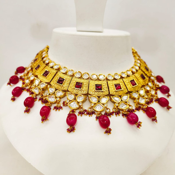 Hangin ruby choker kundan work with squear necklace set 1483