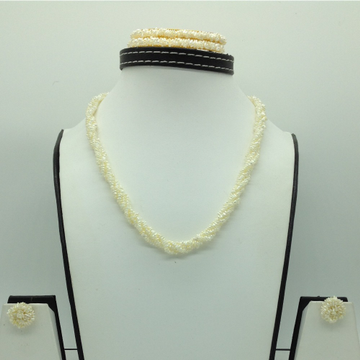 Seawater White KC Flower 4 Lines Pearls Twisted Full Set JPP1059