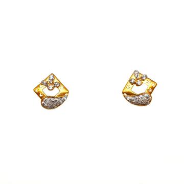 22K Gold Square Shaped Matte Finish Designer Earrings MGA - BTG0482