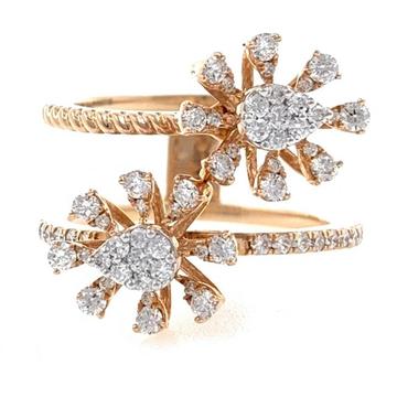 18kt / 750 rose gold two flower diamond ring 8lr25...