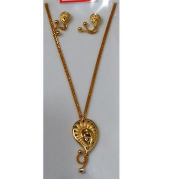 22kt Gold Cz Casting chain pendant Set