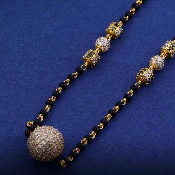 22KT/ 916 Gold single CZ round boll pendant mangal... by