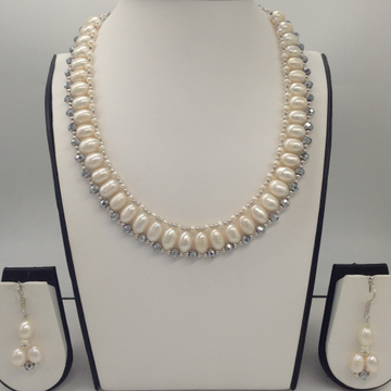 """Freshwater whitepearls and silvercrystals""""u"""" necklace set jpp1032"""