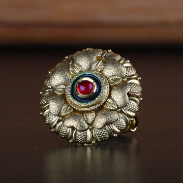 916 Gold Antique Flower Design Ring RJ-R06