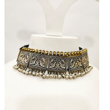 Antique choker Oxidized with gold plated necklace set 1648