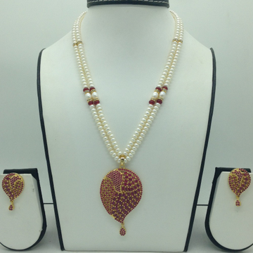 Red CZ Pendent Set With 2 Line Flat Pearls Mala JP...