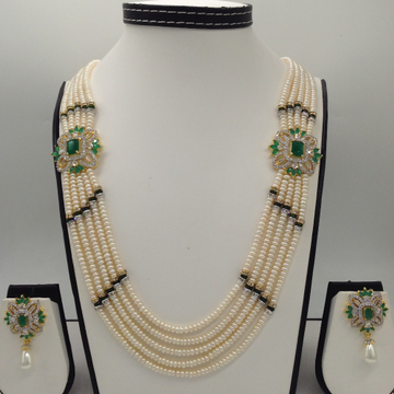 White And Green CZ Brooch Set With 5 Lines Flat Pearls Mala JPS0480