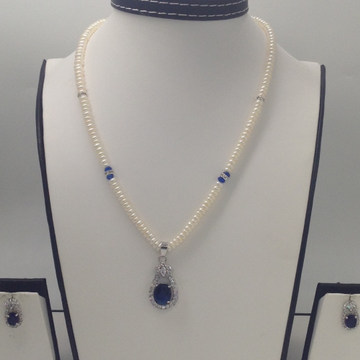 White And Blue CZ Pendent Set With Flat Pearls Mal...